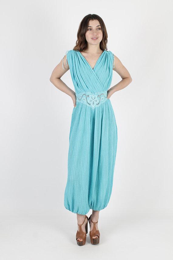 a8bf1dcad7 Gauze Jumpsuit India Jumpsuit Ethnic Jumpsuit Grecian Jumpsuit Vintage 70s  Wrap Floral Embroidered B