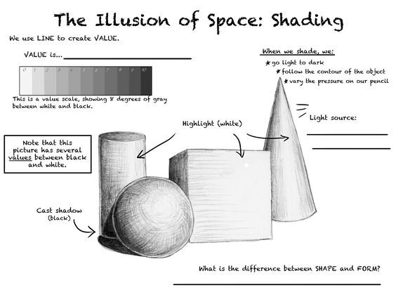 Image result for shading forms worksheet | value scale