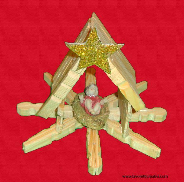 Lavoretti Di Natale Con Le Mollette Da Bucato.Presepe Con Mollette Di Legno Decorazioni Natale