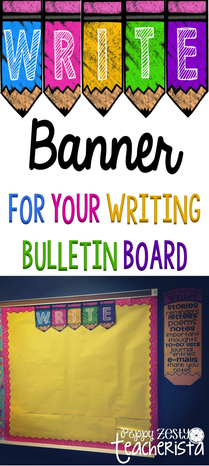 Free Write Banner For Your Bulletin Board Works With All Color Schemes Writing Center Classroom Writing Kindergarten Writing