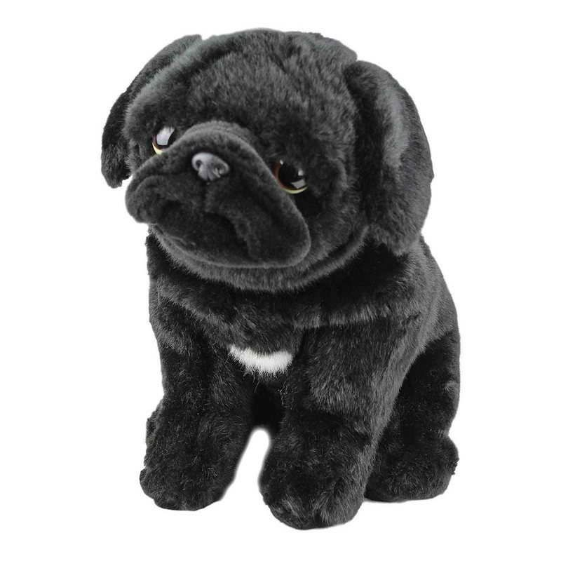 Realistic Pug Stuffed Animal, Art Collectibles Pug Throw Pillow Real Size Stuffed Animal For Dog Lovers Black Pug Plush Decorative Pillow Cushion Painted Pug Shaped Realistic Animal Pet Portraits Art Collectibles