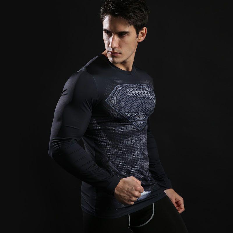 Hommes Compression Shirt Fonction Shirt Laufshirt Top Manches Longues Fitness Sport