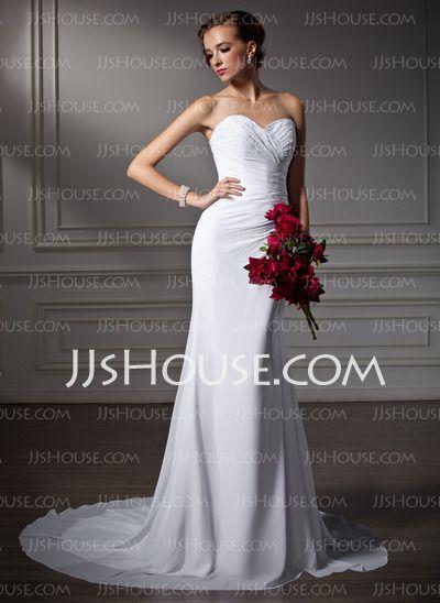 Vestidos de noiva - $107.99 - Tubo/ Coluna Coração Cauda corte Tecido de seda Vestidos de noiva com Pregueado Bordado (002006370) http://jjshouse.com/pt/Tubo-Coluna-Coracao-Cauda-Corte-Tecido-De-Seda-Vestidos-De-Noiva-Com-Pregueado-Bordado-002006370-g6370