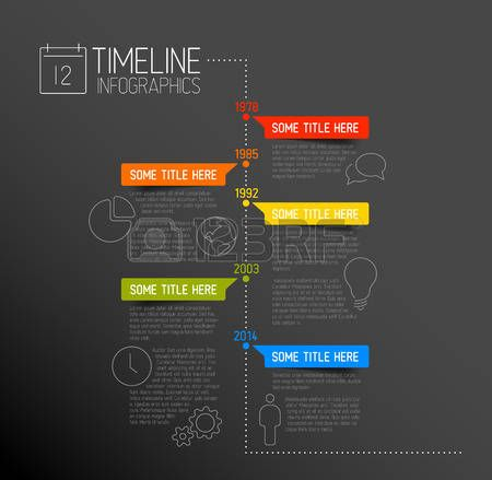 Vector Infographic timeline report template with icons photo - timeline resume