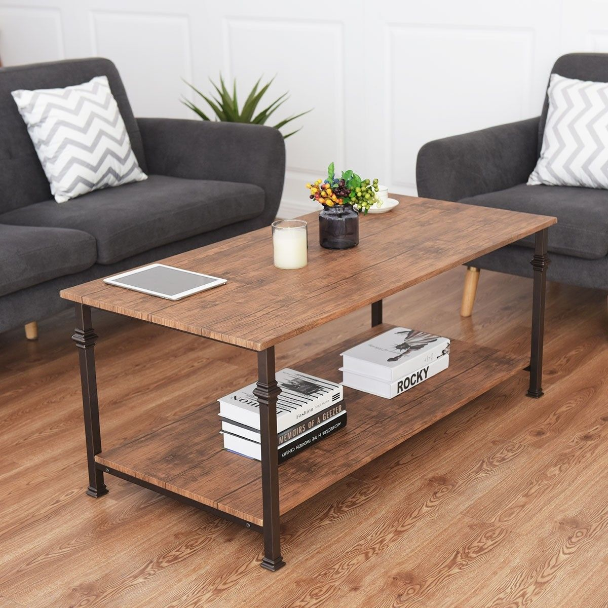 2 tier living room accent end coffee table with storage