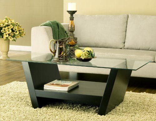 Enitial Lab Hudson Coffee Table With Glass Top Black By Enitial Lab - 17 inch high coffee table