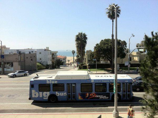 Blue Bus At Santa Monica Beach Anotherdayinla Pinterest