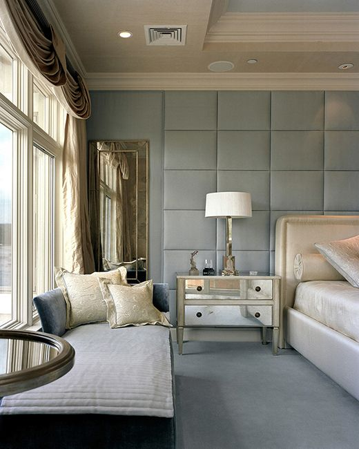 Design An Elegant Bedroom In 5 Easy Steps: Elegant Penthouse Master Bedroom. Upholstered Walls In Sky