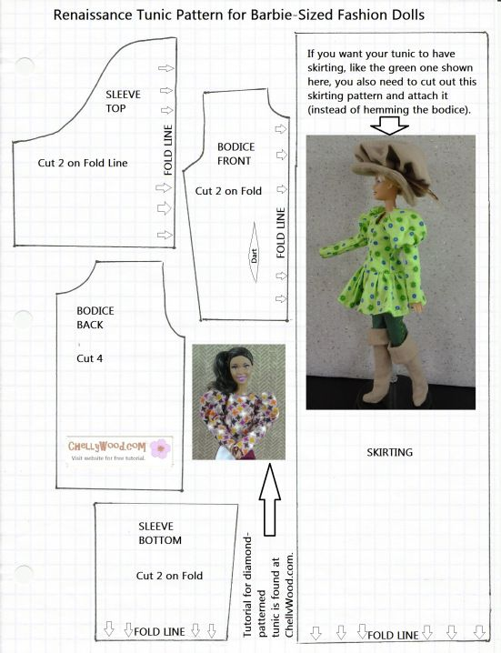 Image of a Downloadable Pattern for a Barbie Shirt Top Tunic ...