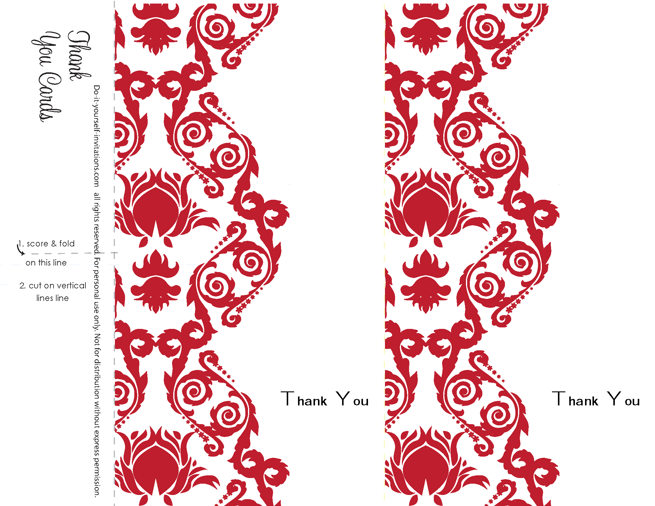Thank You Cards. Printable Red Damask Wedding Invitation Kits would ...