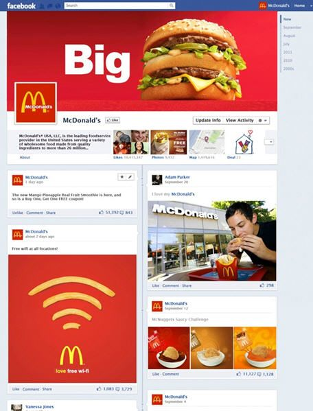 Sample McDonalds Timeline Fan Page (design commissioned by Mashable