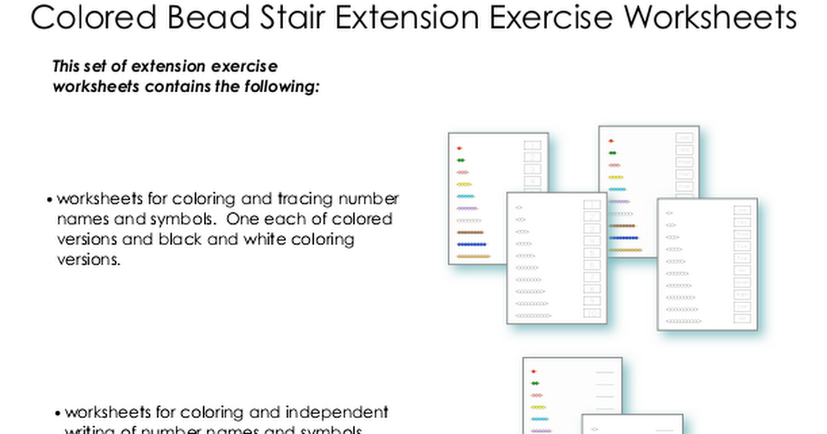 Colored Bead Stair Extension Worksheets.pdf Color