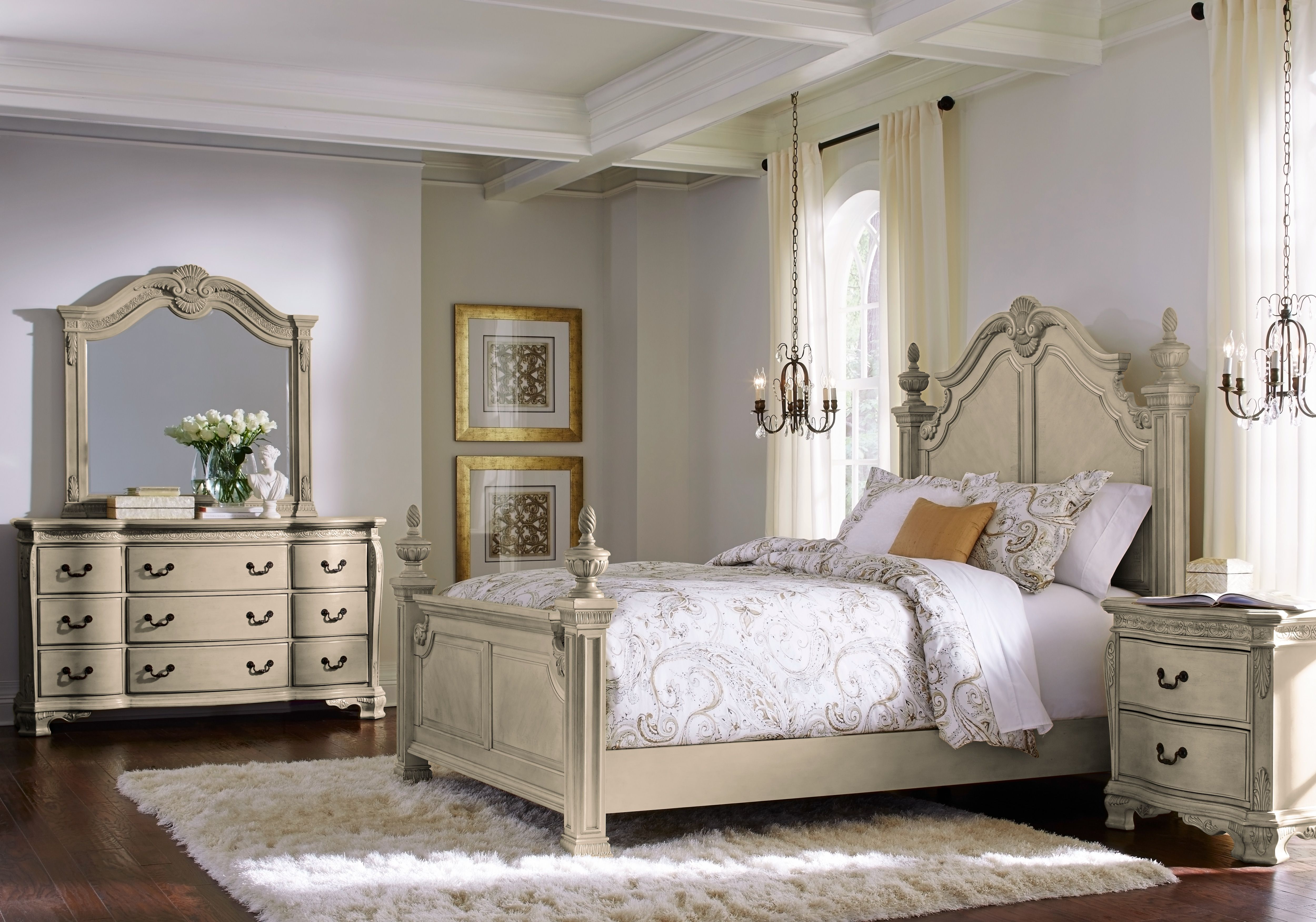 Cortinella Cream 5 Pc King Poster Bedroom in 2019 | Diy ...