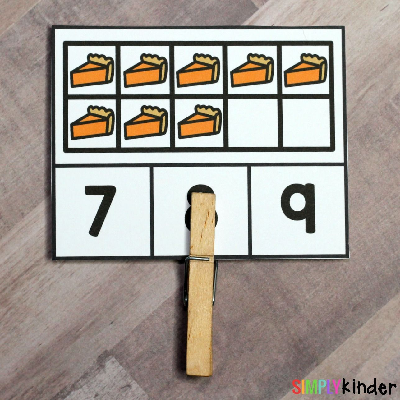 Pumpkin Pie Counting Clips Thanksgiving Themed Math