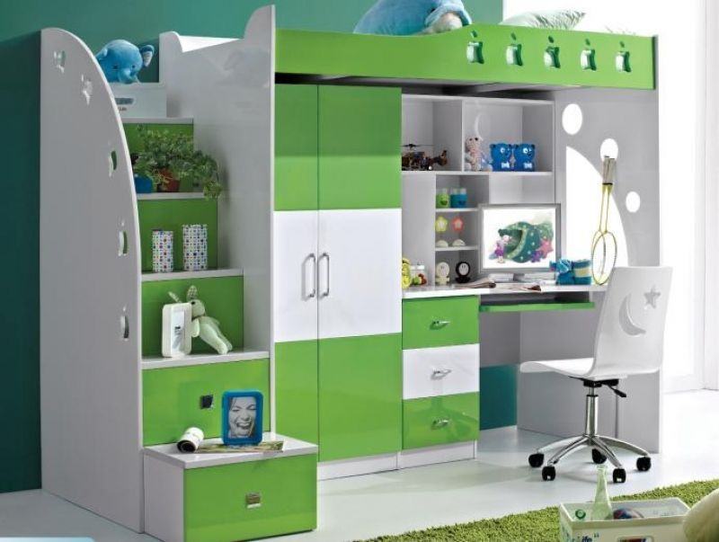 kids loft bed with computer desk, wardrobe & storage, many designs