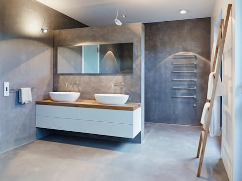 Meuble vasque double / suspendu / à poser / en plaqué bois CUBIK - Meuble Vasque A Poser Salle De Bain