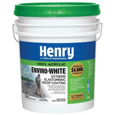 Henry 687 Envirowhite 100 Acrylic Reflective Elastomeric Roof Coating W Dirt Pickup Resistance Technology 24 Piece He687072 The Home Depot Elastomeric Roof Coating Roof Coating Roof