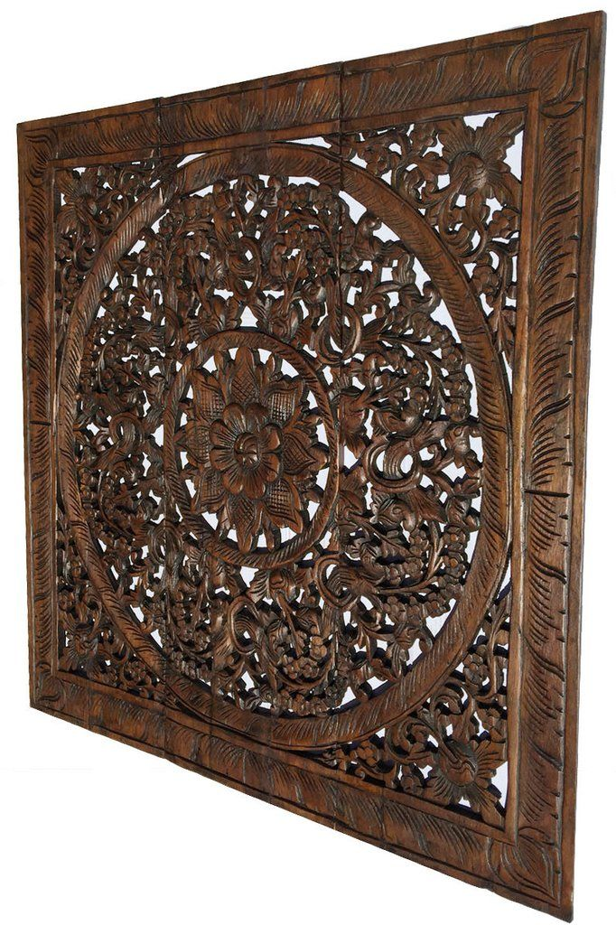 Elegant Wood Carved Wall Plaque. Wood Carved Lotus Wall Art. Square ...