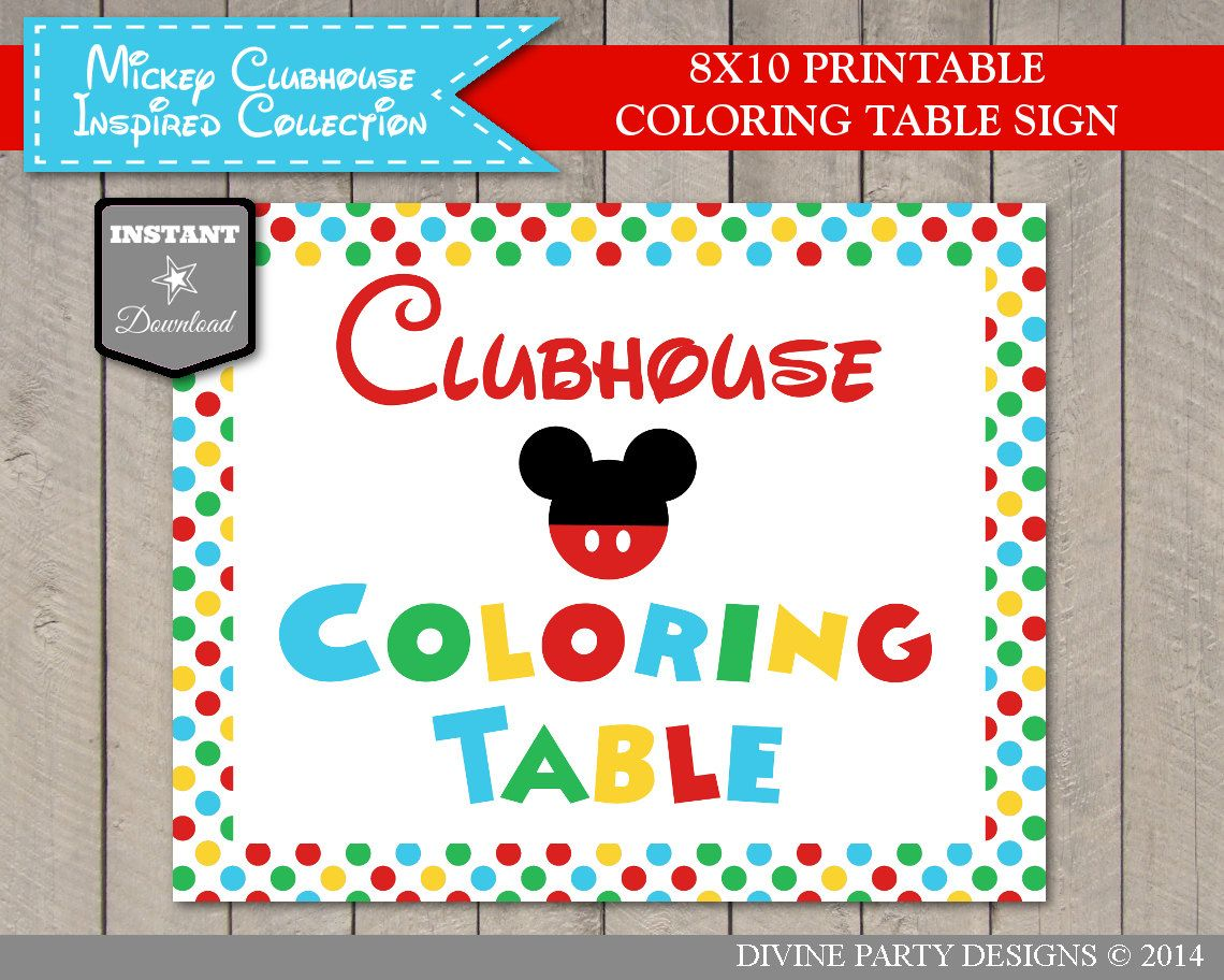 Instant Download Mouse 5x7 And 8x10 Clubhouse Coloring Table