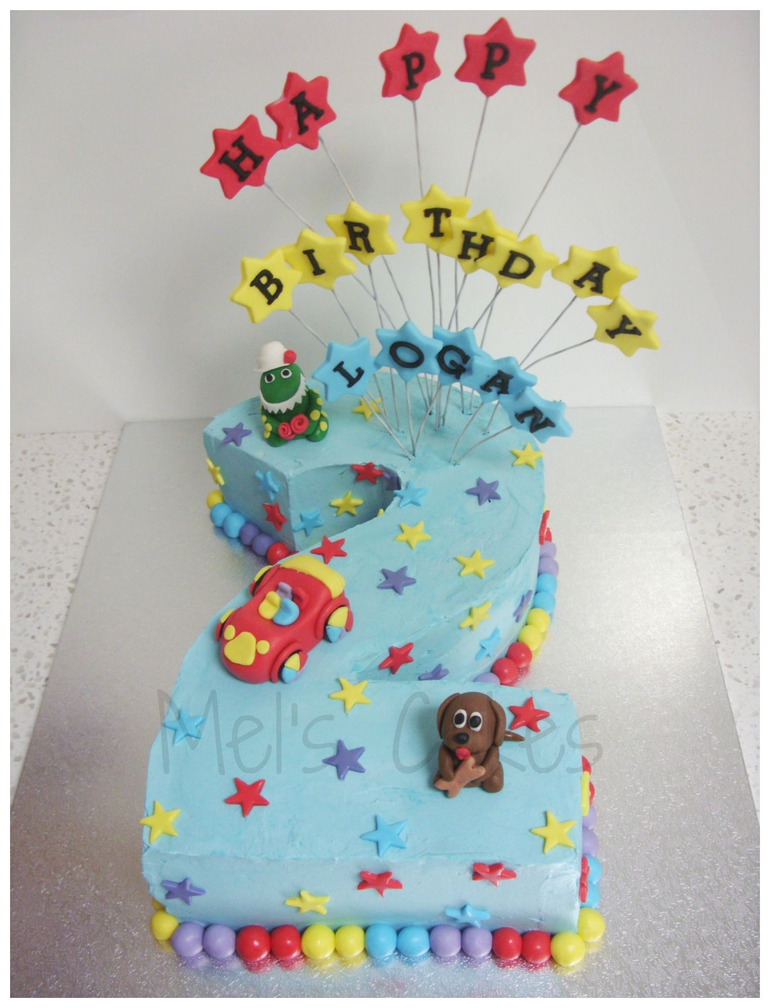 Wiggles Theme Cake With Number 2 Shape With Images Wiggles