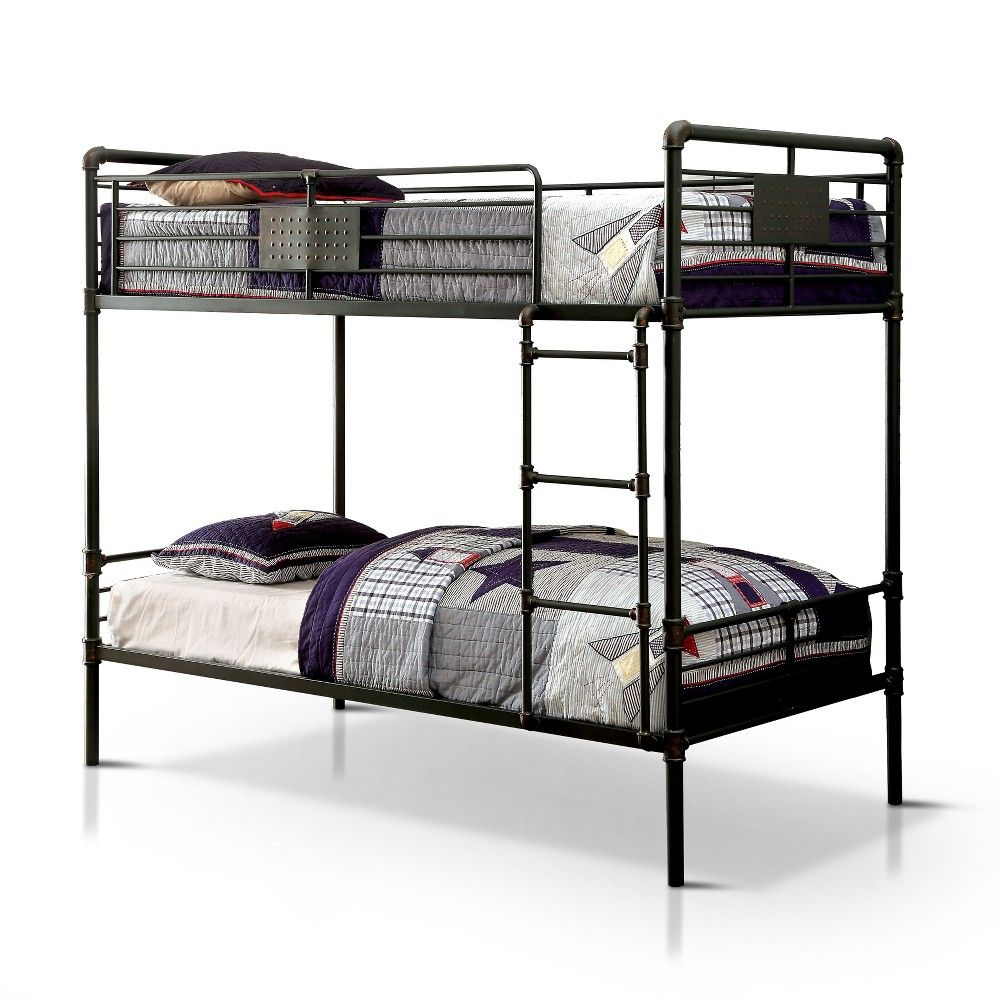 Full Derrick Kids Bunk Bed Black Iohomes With Images Bunk