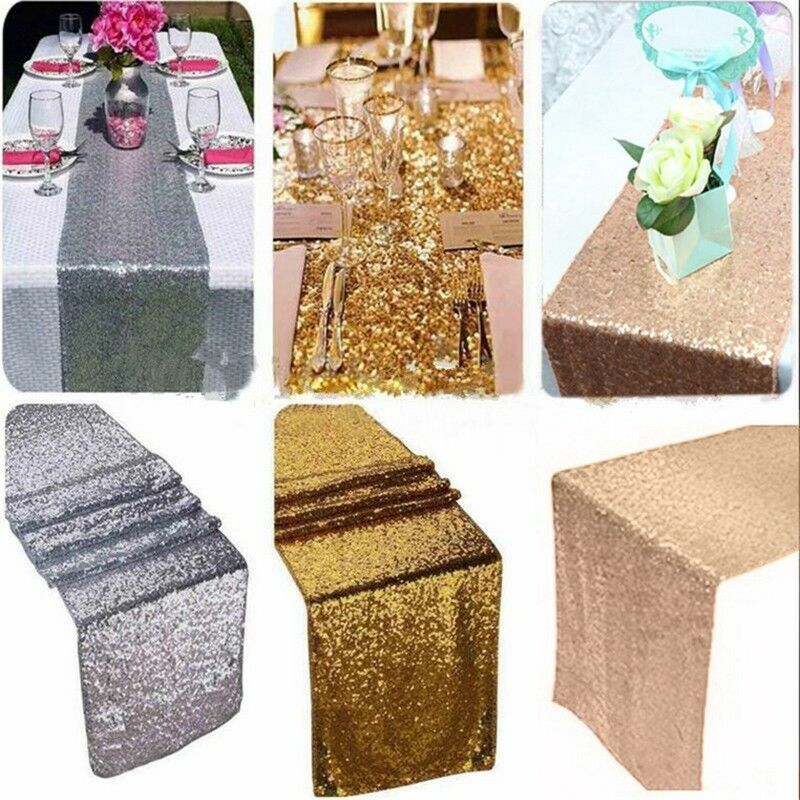 Sparkly Sequin Fabric Add The Fantasy And Luxury To Your Party Tables The Table Runn With Images Sequin Table Runner Sequin Table Runner Wedding Gold Sequin Table Runner