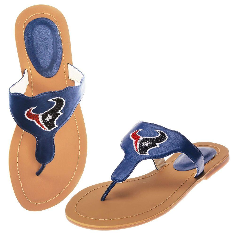 97401150 Women's Cuce Shoes Navy Houston Texans Team Sandals | Houston Texans ...