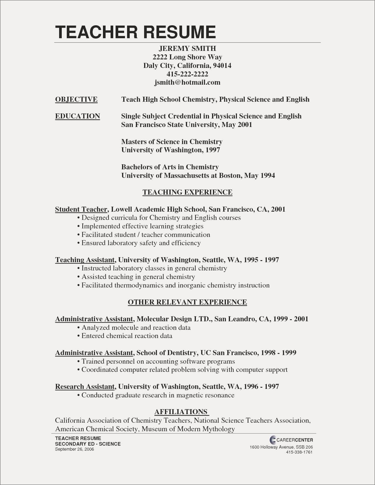 77 Luxury Images Of Resume Examples for Beginning Teachers