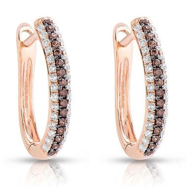 035 CT TW Amour Chocolat Diamond Earrings in 14K Rose Gold