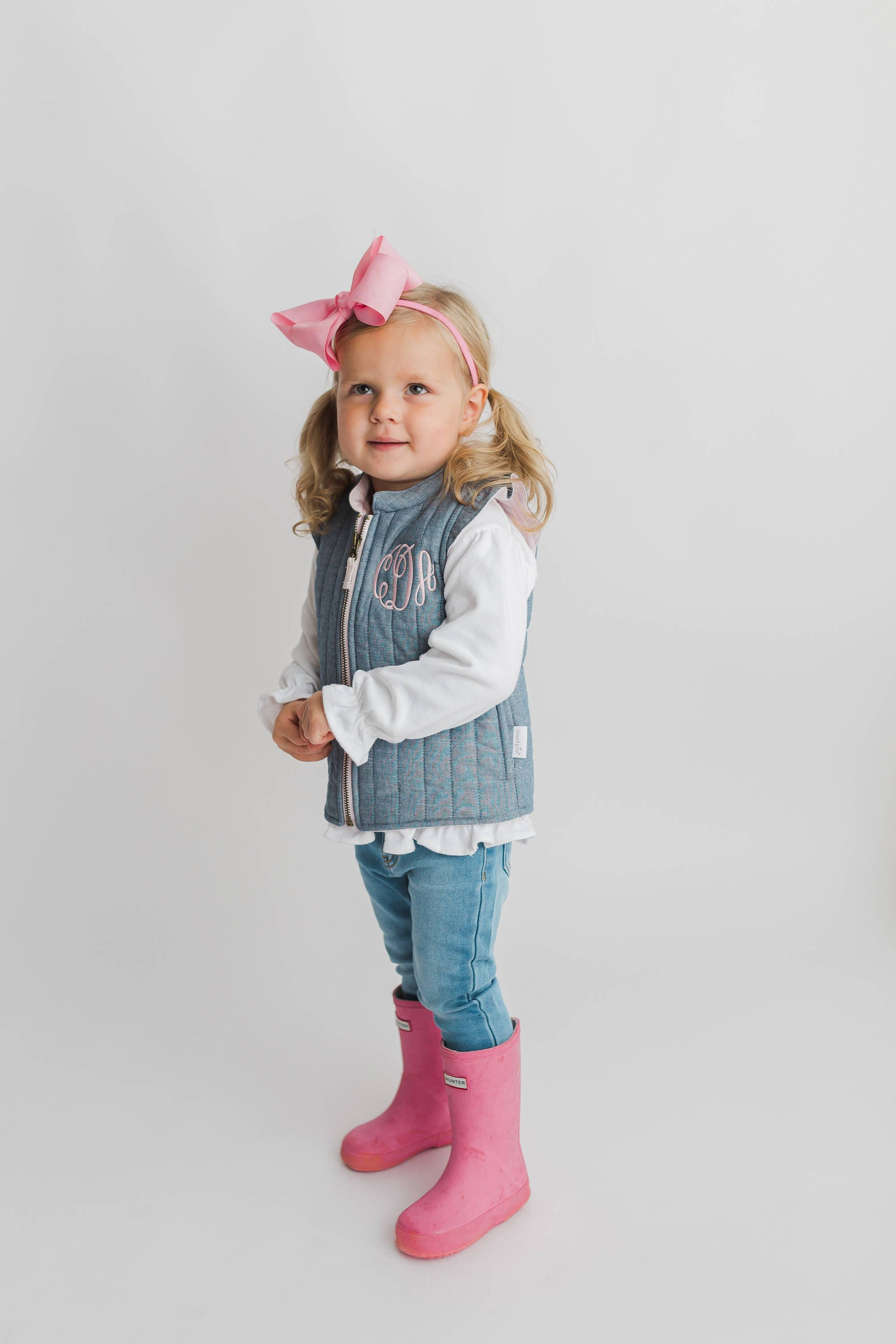 760c2c8b1 Girls vest, toddler monogrammed vest, chambray vest, toddler clothing, fall  outfit by