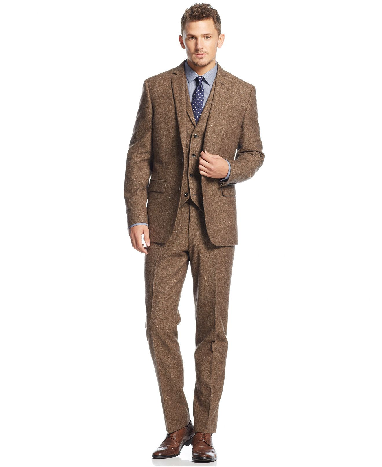 Bar III Carnaby Collection Slim-Fit Brown Tweed Herringbone Suit ...