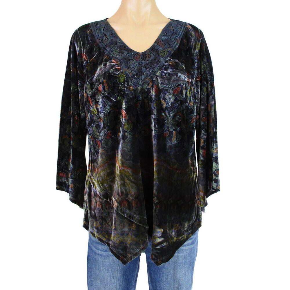 3X NWT Womens Boutique Plus Size Blue Floral 3//4 Sleeve Tunic Blouse Top L