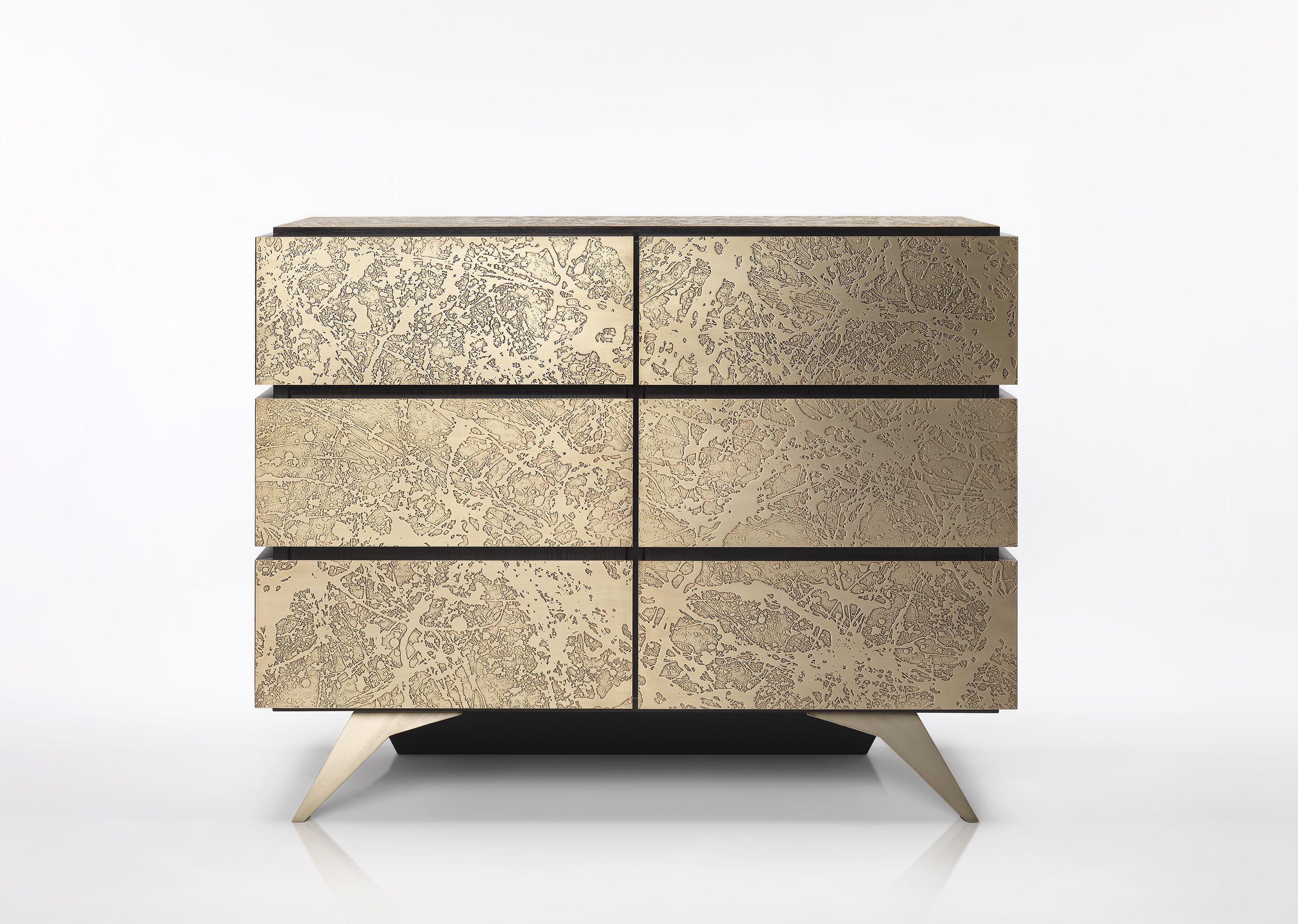 Credenza Con Cantinetta : Credenza in legno con rivestimenti ottone mobilificio rbr