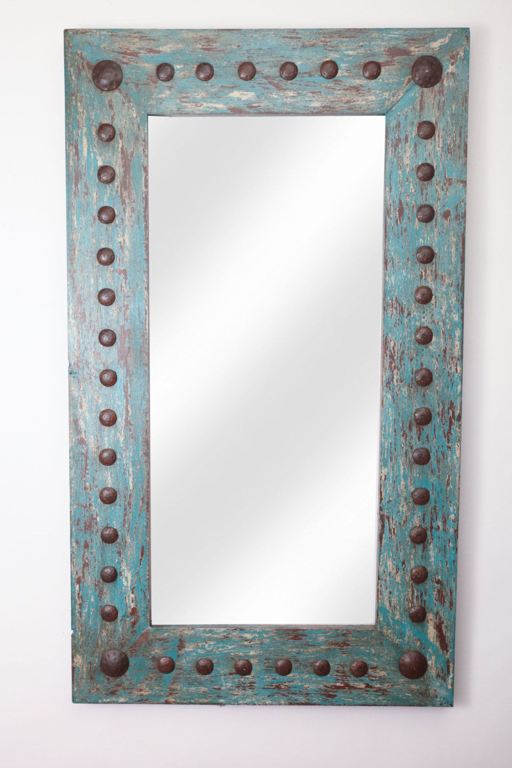 Puebla Rustic Mirror-Wood-Mexican-20x34-Rustic-Distressed Turquoise ...