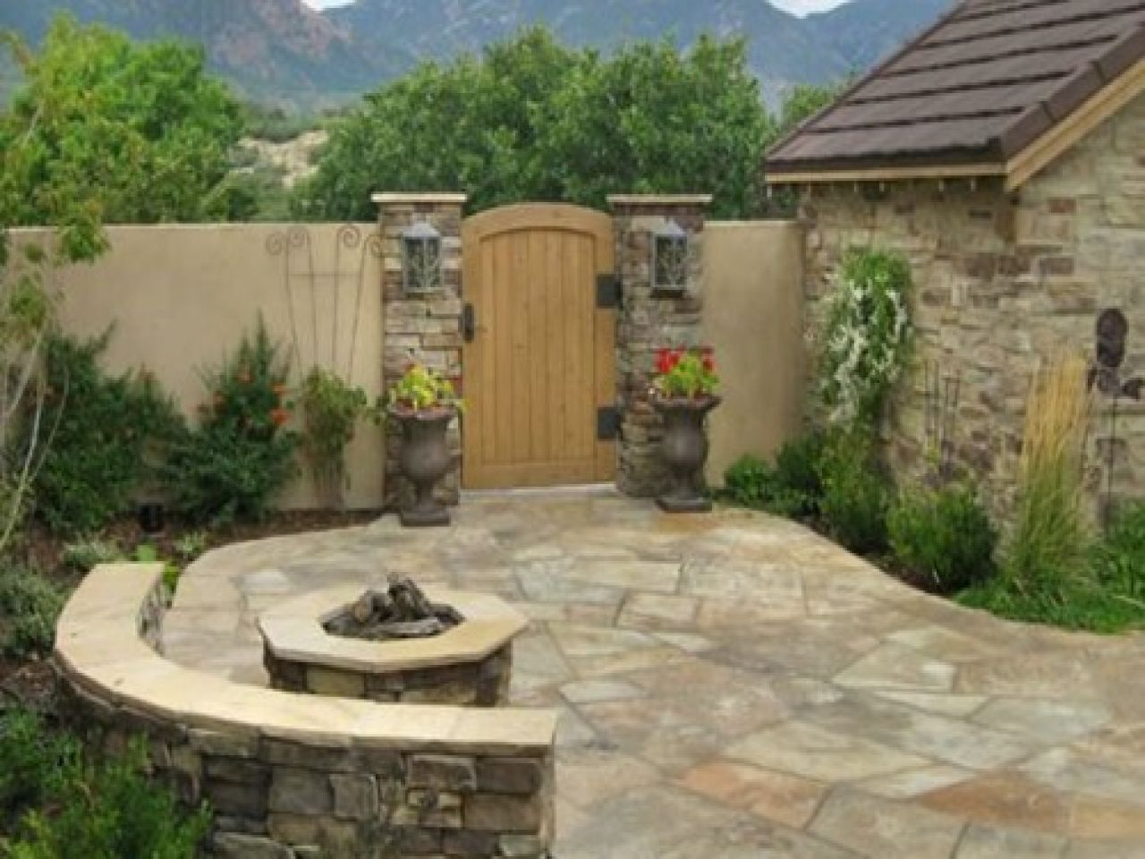 Flagstone Patio For Decorating Your Porch Floor: Rock Flagstone Patio With  Round Stone Fire Pit