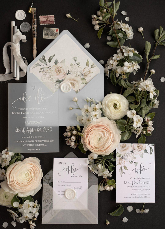 Elegant wedding invitation transparent acrylic We Do