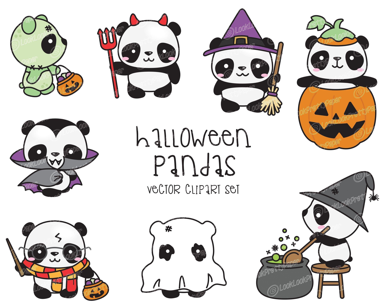 Premium Vector Clipart Kawaii Halloween Pandas Cute Etsy In 2021 Kawaii Halloween Cute Halloween Drawings Halloween Clipart