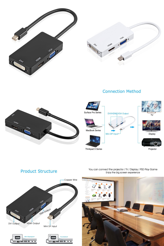 Visit To Buy Easyidea Thunderbolt Dp To Hdmi Dvi Vga Adapter Cable 3 In 1 1080p Mini Display Port Converter For Imac Apple Macbook Dvi Apple Macbook Pro Hdmi