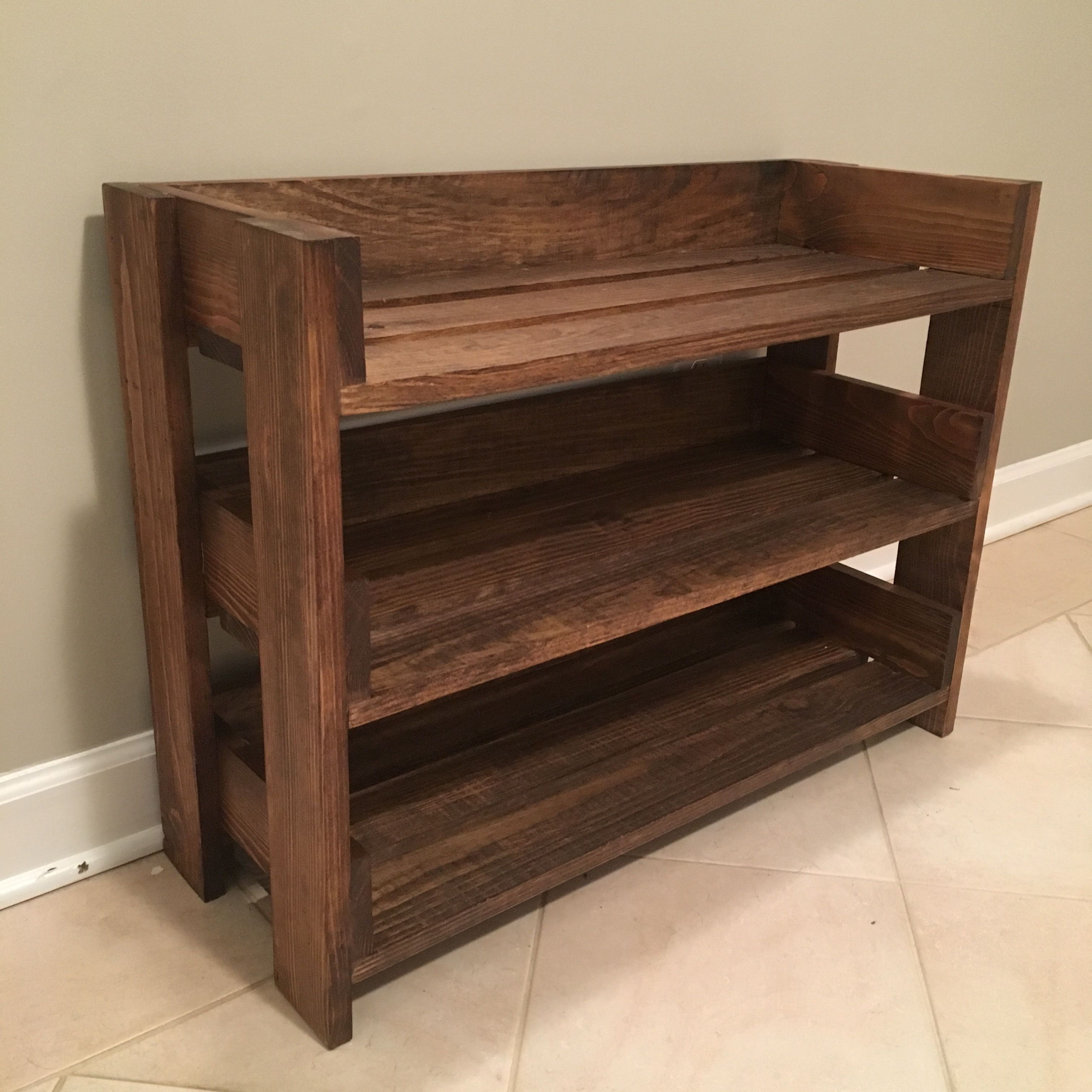 Simple Diy Shoe Rack Made From 1x4 S And Stained With Minwax