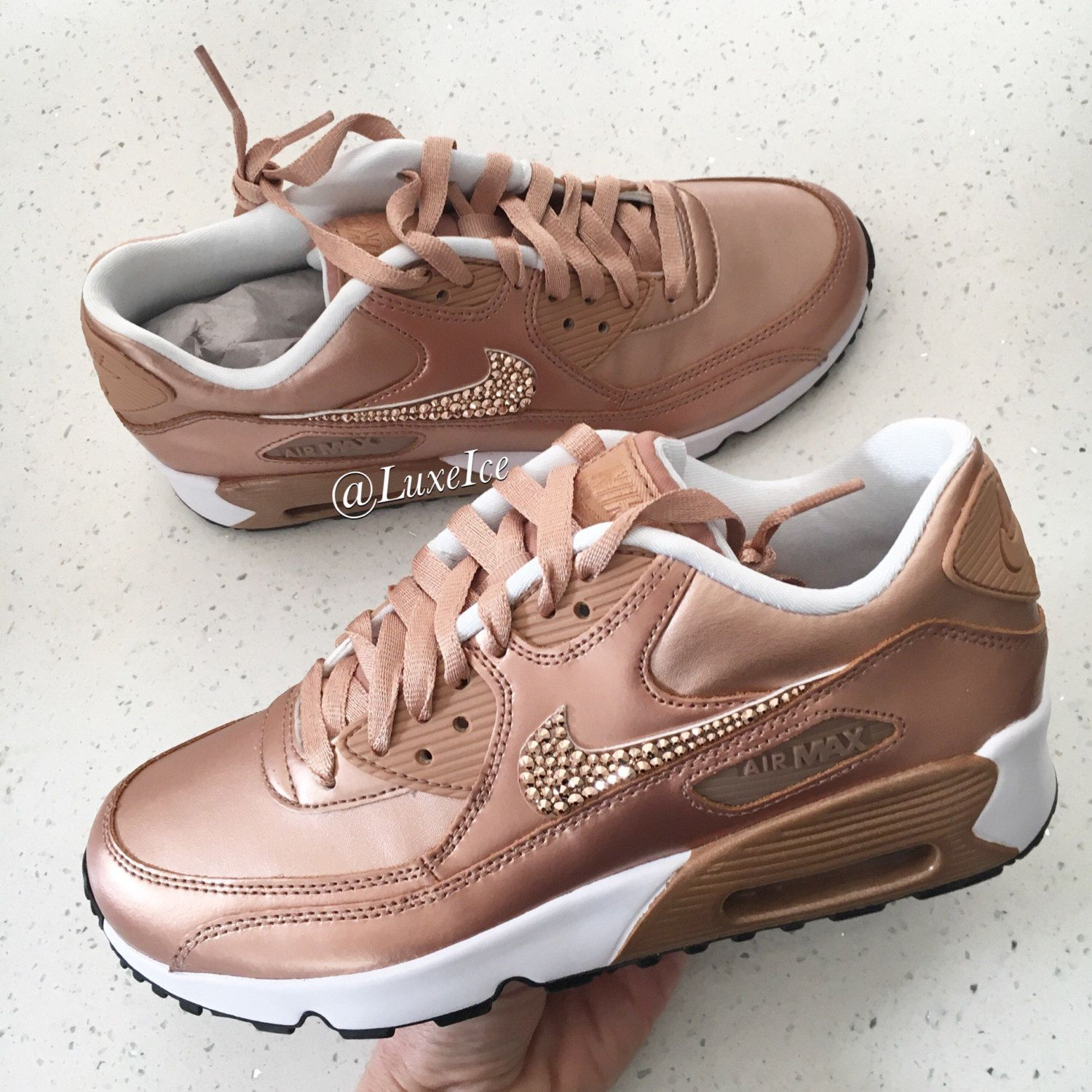 Nike Air Max 90 SE Leather Shoes Made with SWAROVSKI® Crystals - White/ Metallic Rose Gold