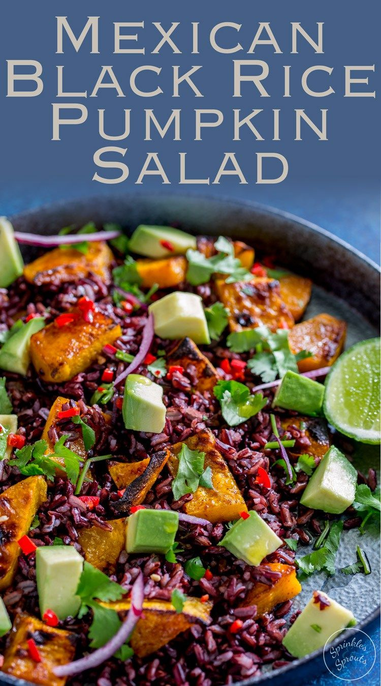 This Mexican Black Rice and Pumpkin Salad is packed with flavour. Honey and cumin roasted pumpkin, nutty sweet black rice, creamy avocado, spicy chilli, zingy lime and fabulous fresh coriander. So many delicious flavours that make this salad a taste explosion. From Sprinkles and Sprouts #SundaySupper