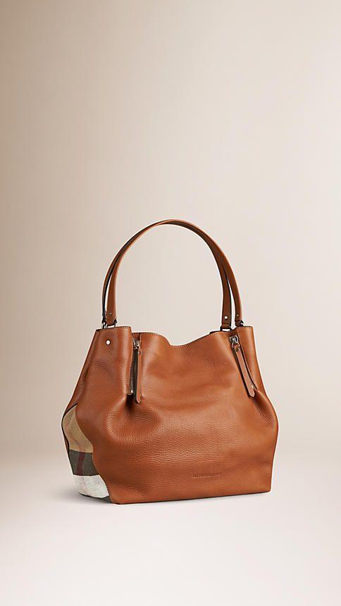 b6a5e8439a56 Saddle brown Medium Check Detail Leather Tote Bag Saddle Brown ...