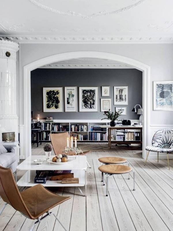 Furniture Bleaching Living Room With Gray Walls And White Wood Floors