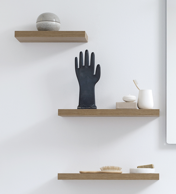Shelves with simple decorative elements support the clean, airy design. Shelves available in varoius lenghts and colours.