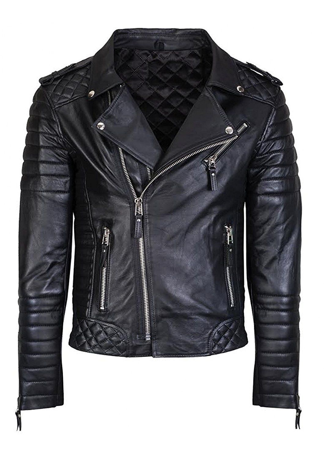 Black Mens Diamond Quilted Leather Jacket Real Lambskin Leather