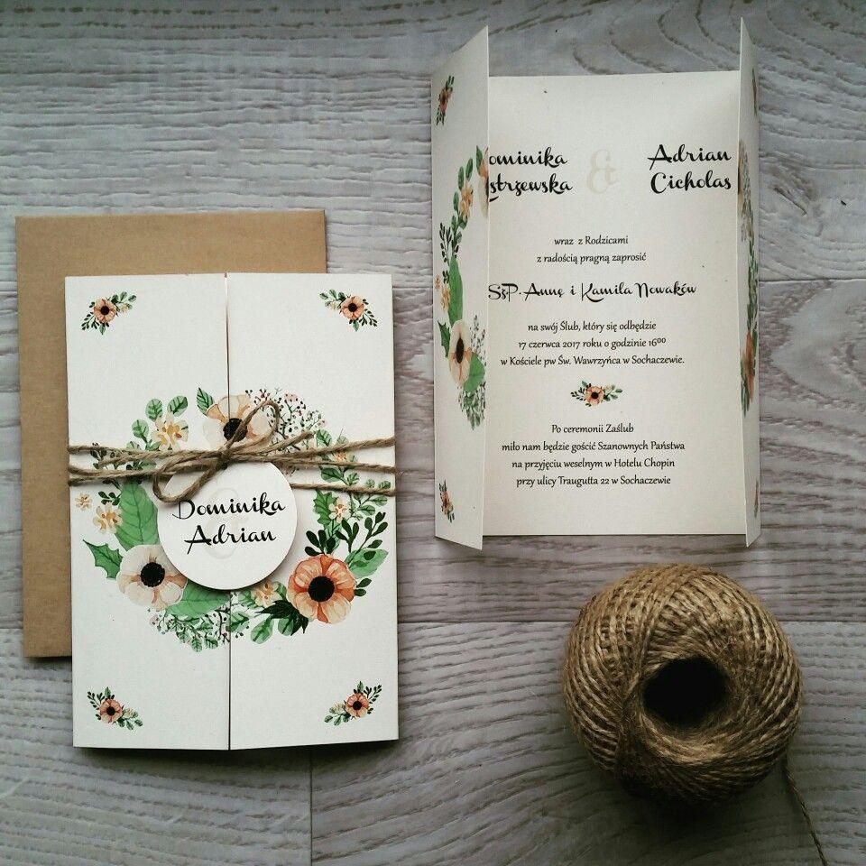 Rustykalne Ekologiczne Zaproszenia ślubne Anemony Zaproszenia I
