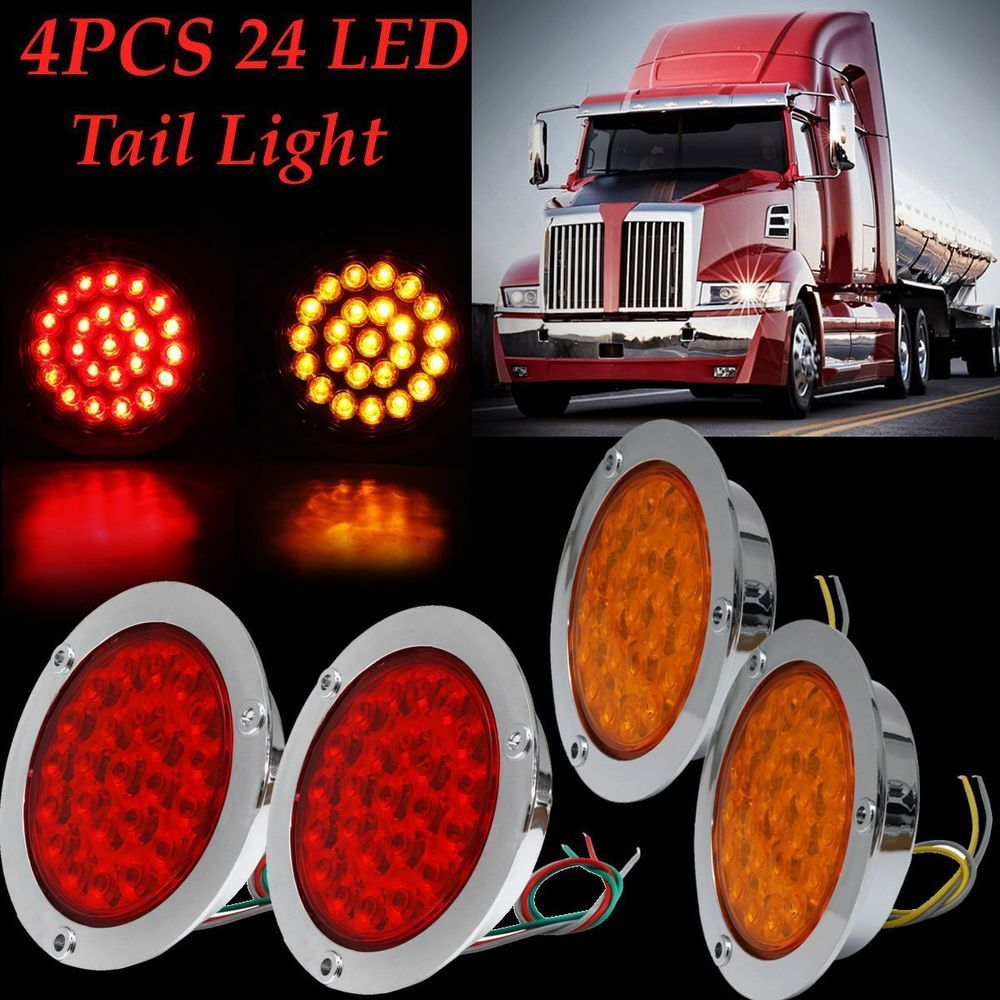 4pcs 24 Leds Indicator Stop Rear Tail Lights For Cars Trucks Trailers Boats New 24 Leds Indicator Stop Rear Tail Truck And Trailer Tail Light Led Tail Lights