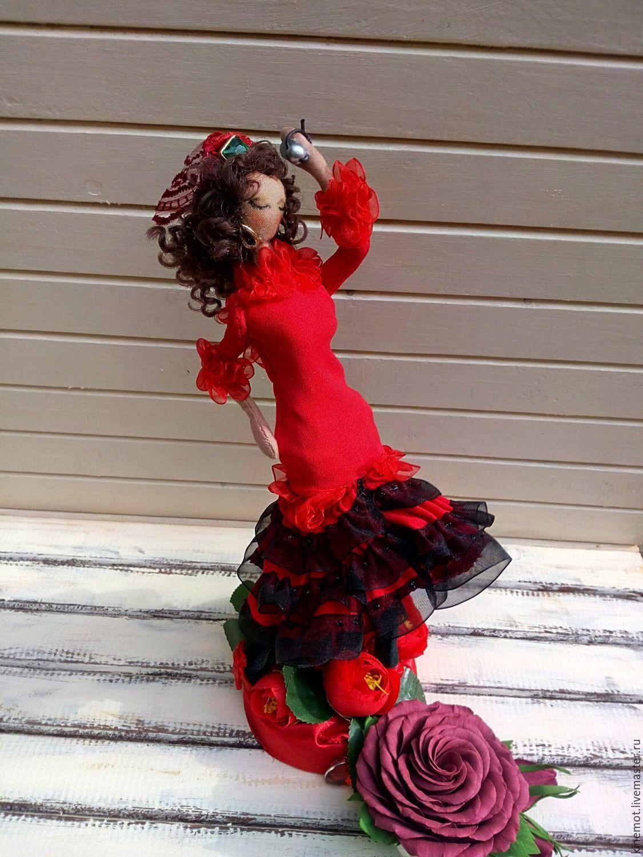 """Купить кукла текстильная тряпиенс """"Огненная Белла"""" - ярко-красный, кукла ручной работы"""