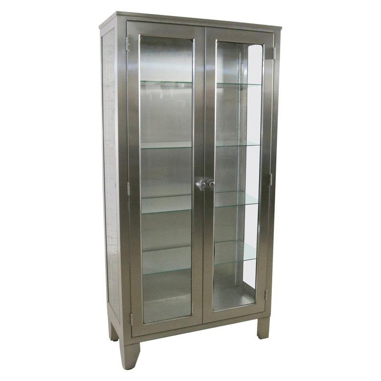 Stainless Steel Industrial Display Apothecary Medical Cabinet With
