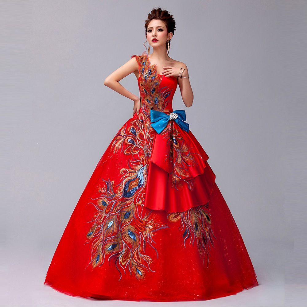 2016 new style red lace one shoulder flower phoenix